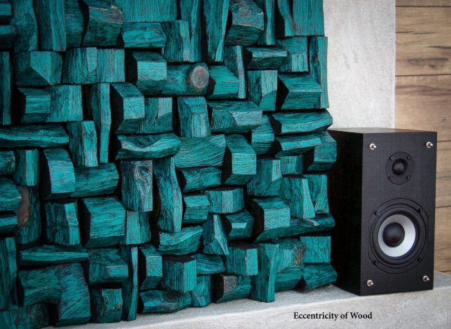 Wood Art Sound Diffuser designed and created to evenly scatter sound energy and eliminate acoustical problems.