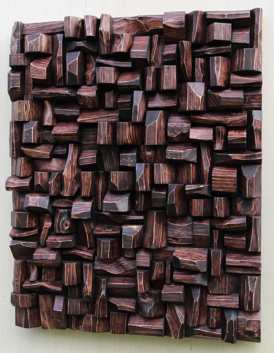 Natural wood wall sculpture made from recycled wood