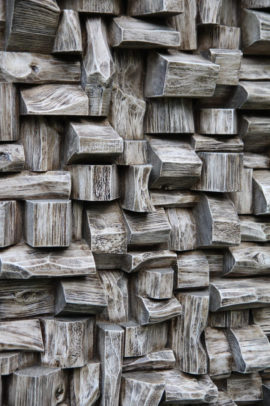 Contemporary wood wall sculpture, extraordinary recycled wood blocks art