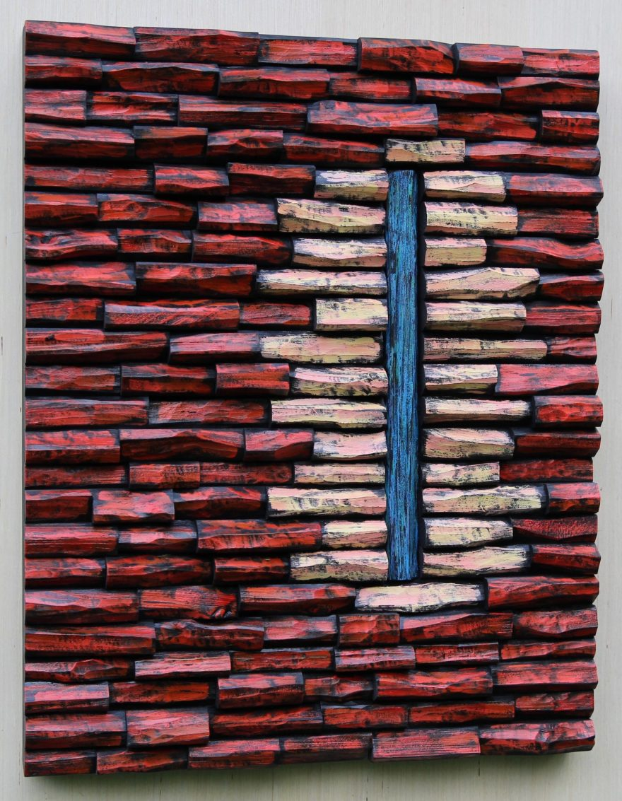 Contemporary wood wall art, with its innovative design and vibrant color adds wow factor and makes a big statement