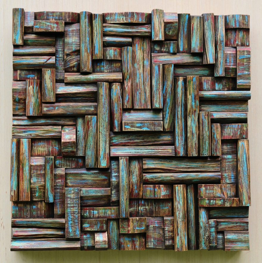 Wood collage sculpture, natural wood wall art will add a bit of nature to your space and life to your walls