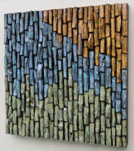 Contemporary artwork by Canadian artist Olga Oreshyna, an impressive combination of eco-friendly and organic design and an abstract painting on hand-carved wood blocks
