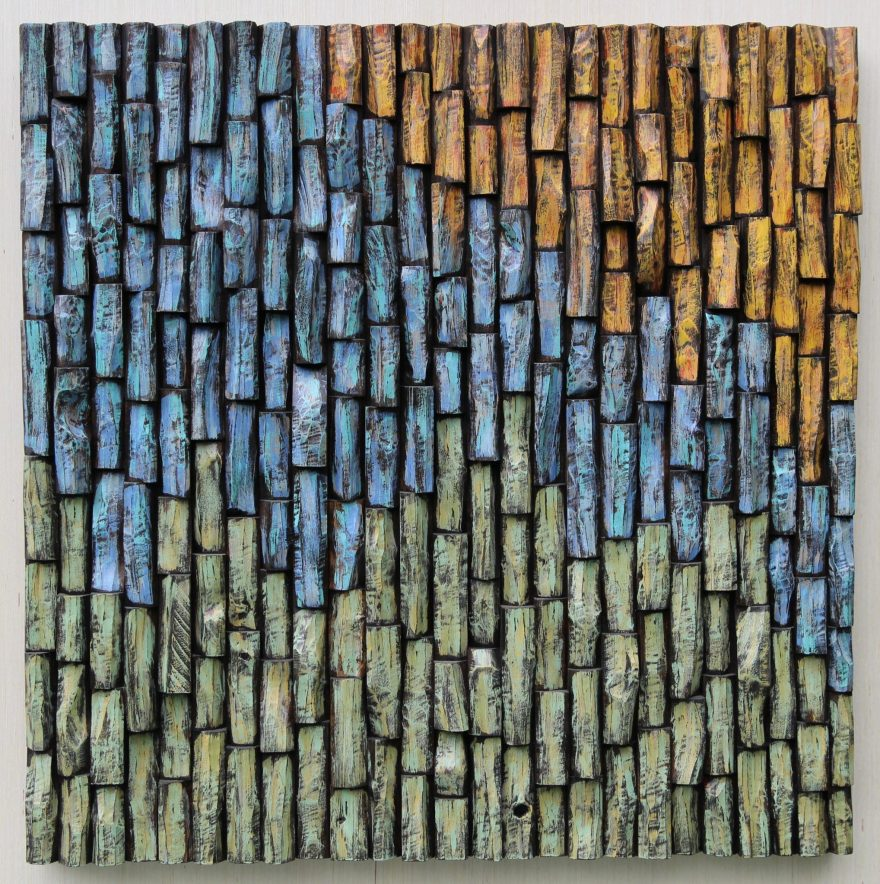 Uplifting abstract work of art, outstanding wood assemblage adds texture to your place and pleases the eyes, creating a warm, rich environment.