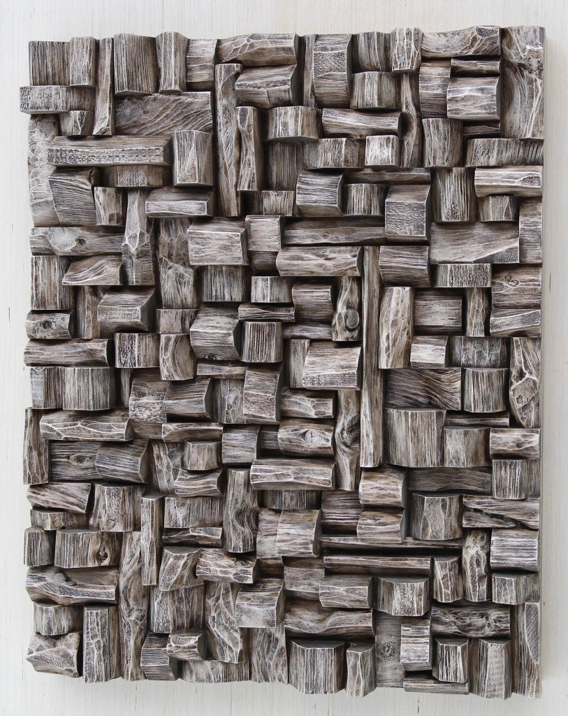Outstanding contemporary wood sculpture, unique composition of richly textured surfaces and intricate shape formations, makes a bold sculptural statement in interior design