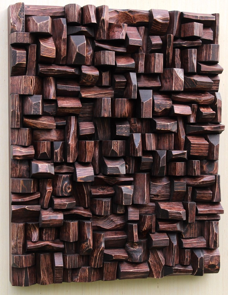 Outstanding contemporary wood sculpture, unique composition of richly textured surfaces and intricate shape formations, makes a bold sculptural statement