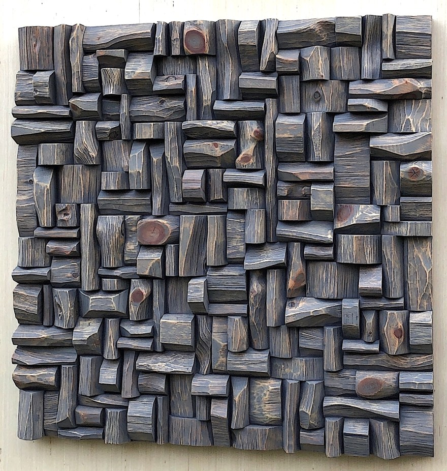 contemporary wood wall sculpture, art acoustic panel