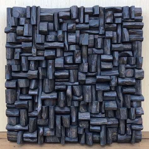 contemporary wood wall sculpture, art sound diffuser