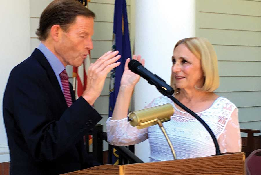 Senator Blumenthal Performs Oath For Local Officials