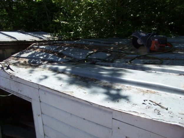Train car shed roof.