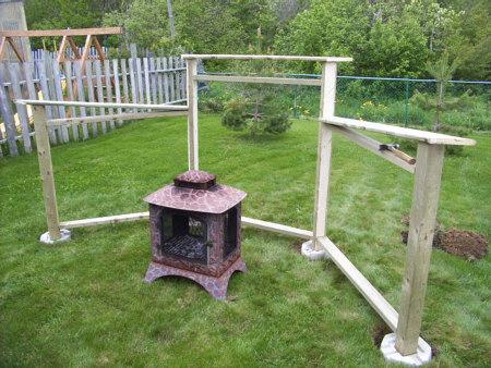 Backyard fire pit construction.