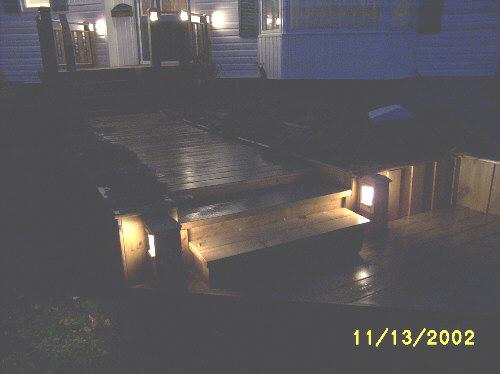 Night deck walkway lighting.