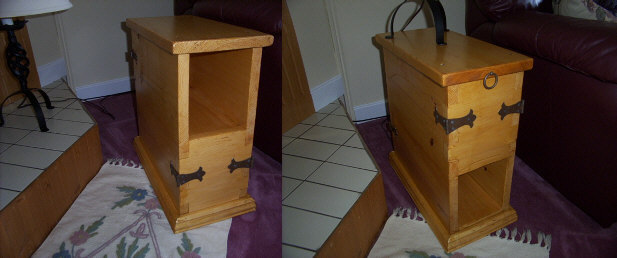 Country style end tables.