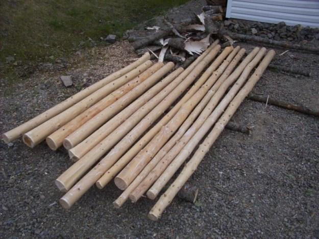 Peeled logs.
