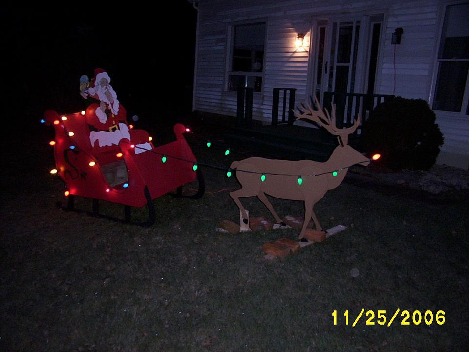 Santa and Reindeer yard art decorations.
