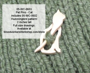 woodworking scrollsawing plans,patterns,Pet Pins - Cat with Bonus Hummingbird Scrollsaw Plan Downloadable PDF