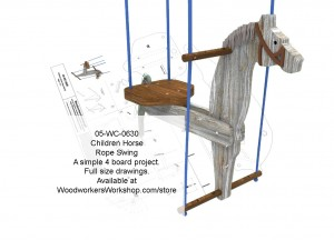 Childrens Horse Rope Swing Woodworking Plan,projects,plans,blueprints