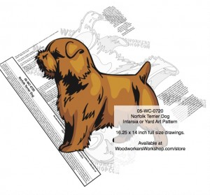 05-WC-0720 - Norfolk Terrier Dogs,Intarsia,Plywood Yard Art,Woodworking Patterns