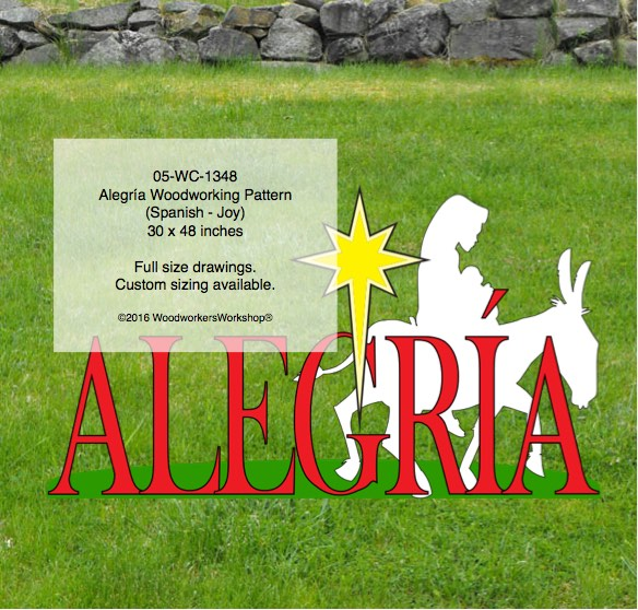 Mary on mule - Alegría Yard Art Woodworking Pattern,Mary,donkey,joy,Spanish