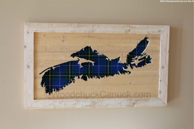 scrollsawn wooden maps of Nova Scotia,provincial tartan colours