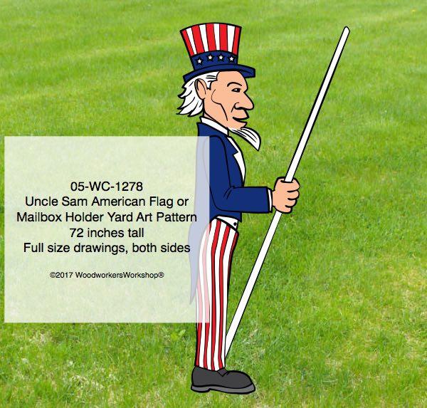 Uncle Sam Flag holder or Mailbox Holder Yard Art Woodworking Pattern,woodworking plans