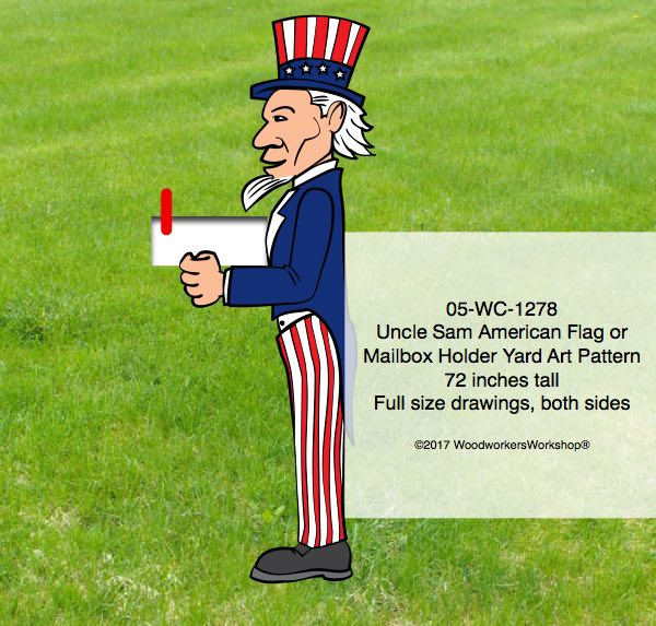 Uncle Sam Flag holder or Mailbox Holder Yard Art Woodworking Pattern,woodworking plywood plans