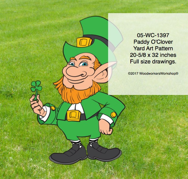 St Patricks Day,Paddy O'Clover,yard art decorations,plywood