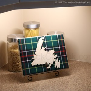 Wood map of Newfoundland with tartan background, cartography,made in Nova Scotia,Made in Canada,Made in the Maritimes