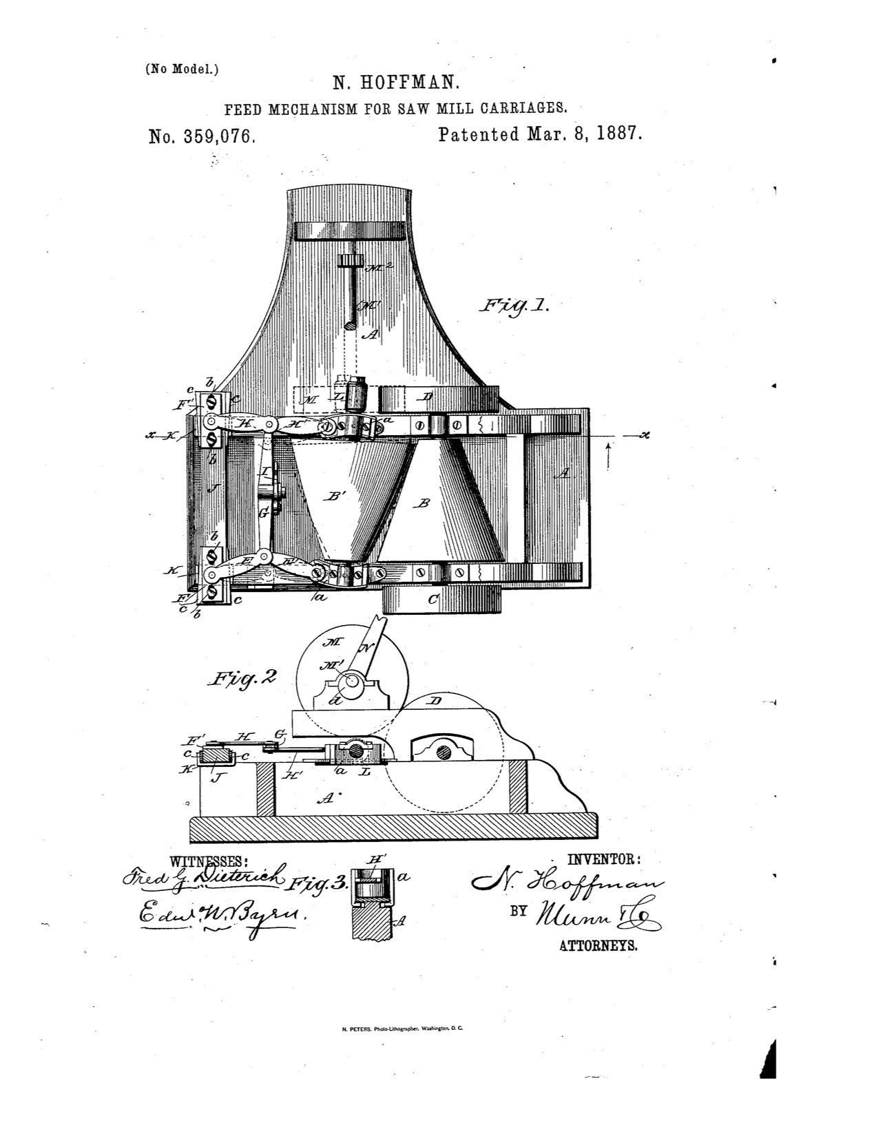 1886 A feed mechanism for saw mill carriages