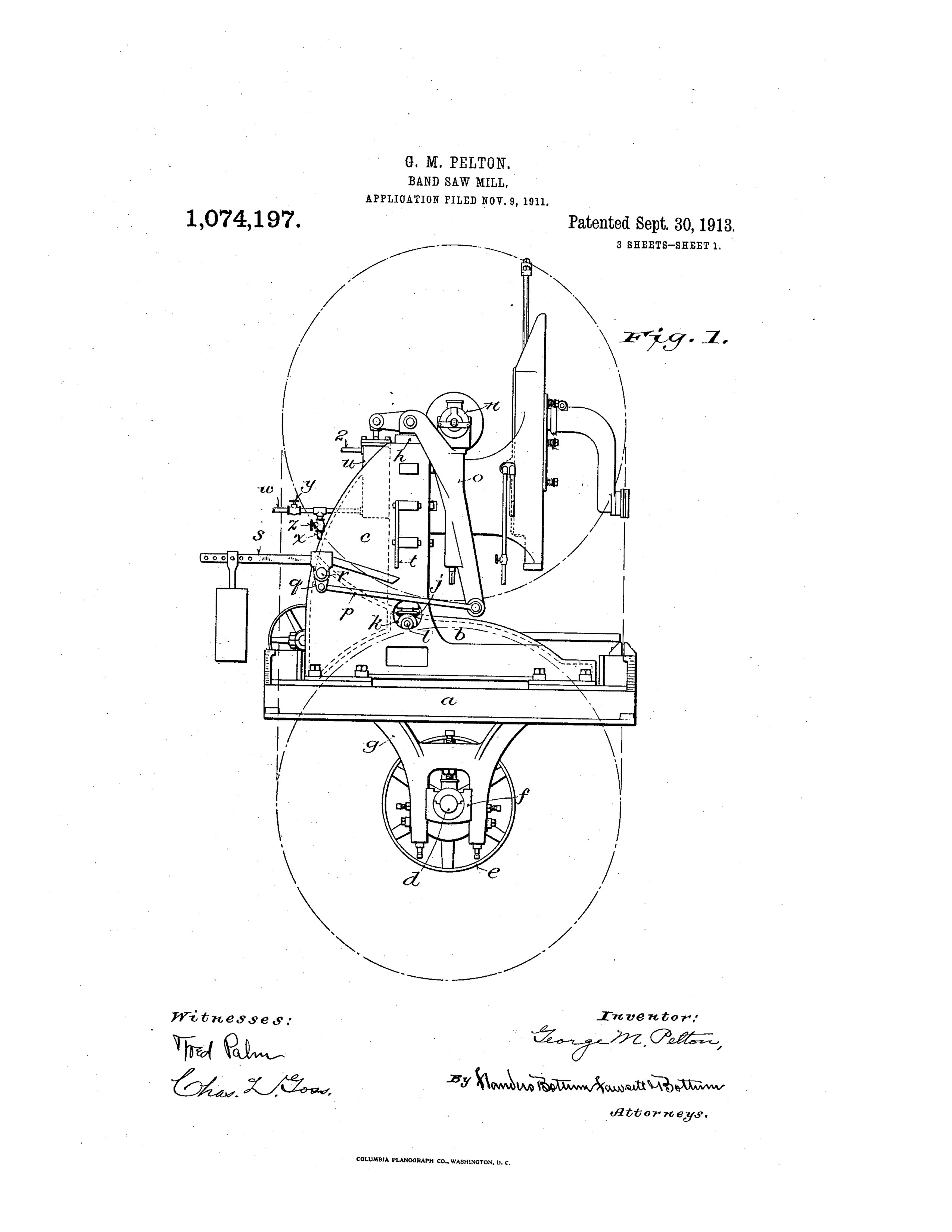 Illustration Of A Patent For A Band Saw Mill
