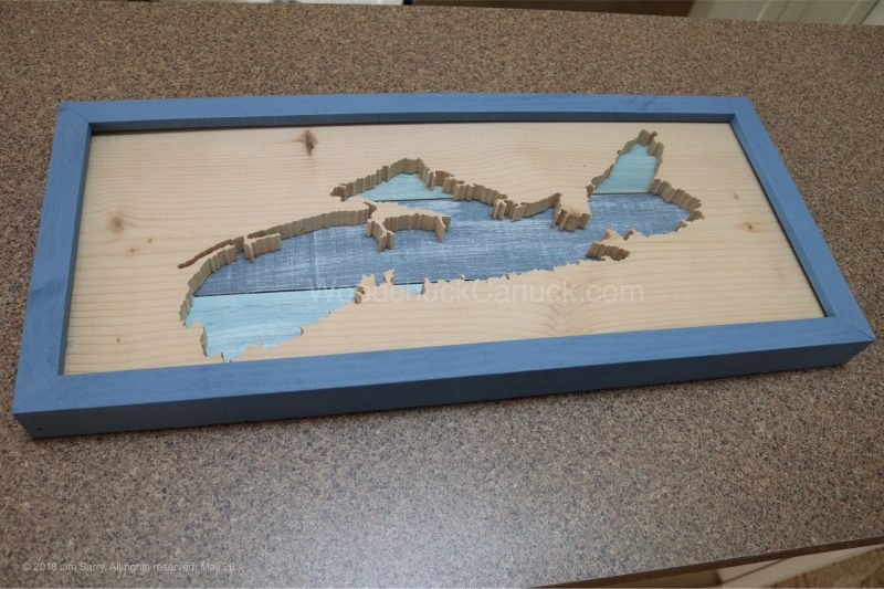 wood map of NS,glass