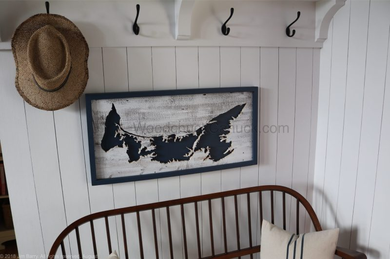 Wood map of Prince Edward Island,hand crafted,hand made in Nova Scotia