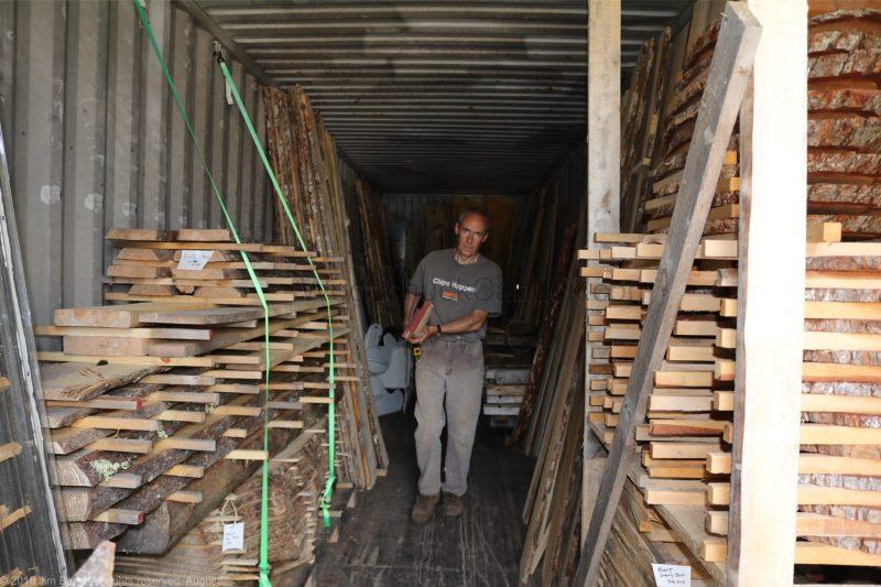 Wood slabs drying.
