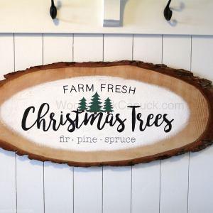 DIY,Christmas sign,Christmas plaque,farm fresh christmas trees,hemlock wood slice