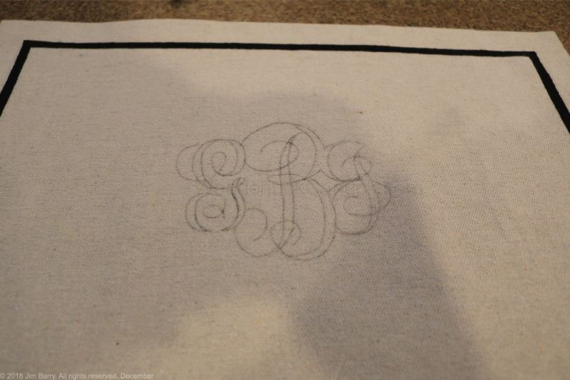 DIY monogramed placemats,painters drop cloths,painting drop cloths