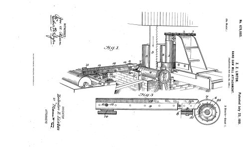 1901 Patent Zebulon Z. Linton bandsaw mill attachment to control springy timber.