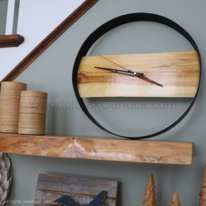 hand crafted wood and metal clock