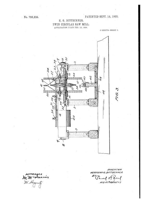 02-12-1904 patent 0799836 1904-02-12 DIAMOND IRON WORKS Hermann G Dittbenner improvement in twin circular saw mills Pg 3 of 8