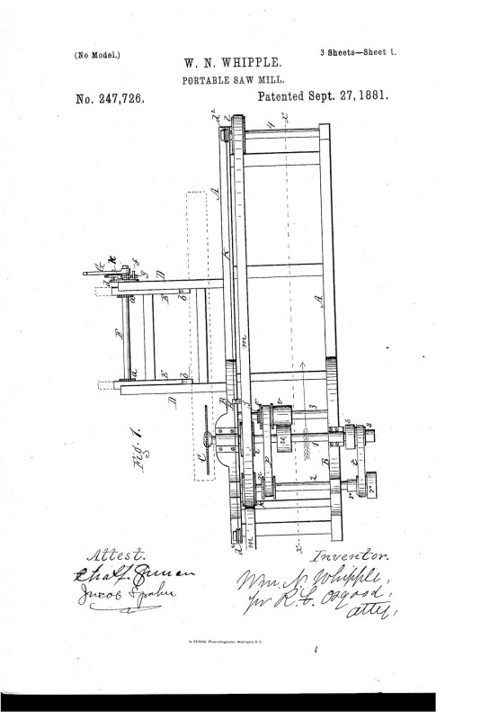 02-15-1881 patent US247726 portable saw mill Pg 1 of 5