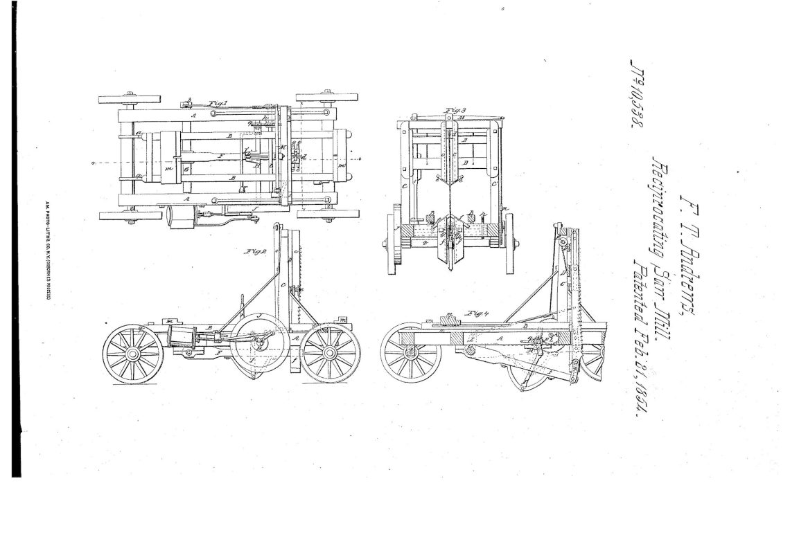 02-21-1854 patent US10538A Reciprocating Vertical Saw Mill pg 1 of 3