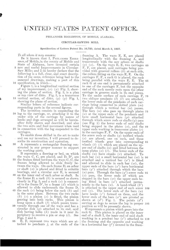 03-03-1857 patent US16725A circular sawing machine pg 2 of 3
