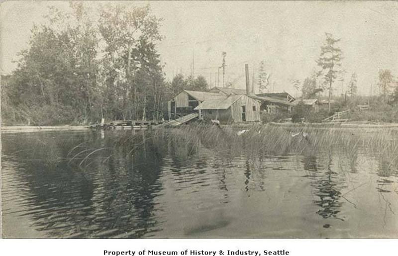 1885 Early sawmill on Lake Washington. Vintage logging.