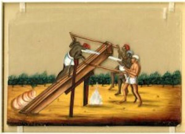 Vintage logging - Saw pits : 18th century Sawyer in India
