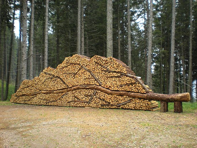 Firewood pile of art.