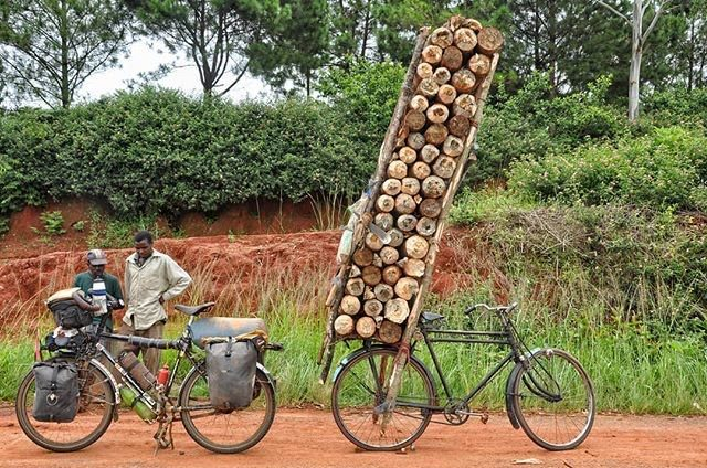 Firewood delivery on bicycle.