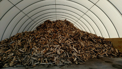 Tunnel buildings make excellent wood storage.