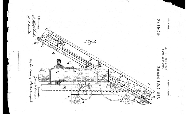 03-09-1886 patent US356930 Patented 02-01-1887 Band Saw Mill pg 1 of 4