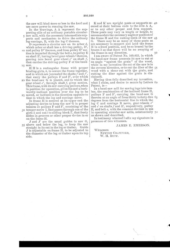 03-09-1886 patent US356930 Patented 02-01-1887 Band Saw Mill pg 4 of 4