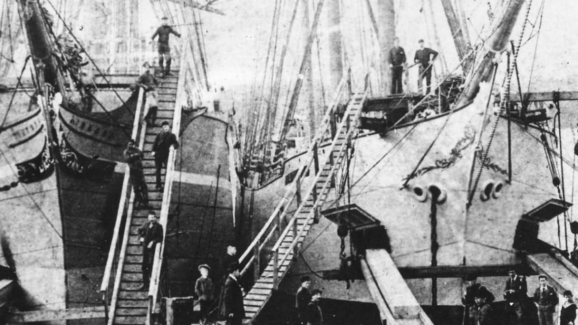 close up 1890 Lumber ships loading at Hastings Sawmill.