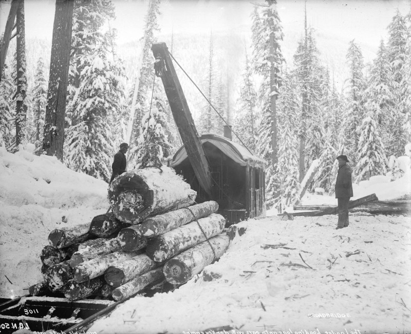 1912 The Loader, woodsmen loading logs on cars with a donkey engine.