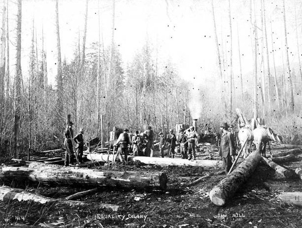 1898 Equality Colony showing men working at the sawmill.